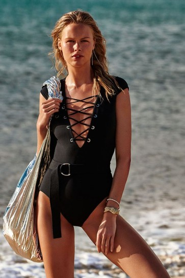 Active Swim Ruched Side Deep V Maillot One Piece Seafolly