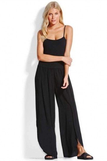 Rib Bodysuit With Sun Temple Shirred Waist Wrap Pant Black