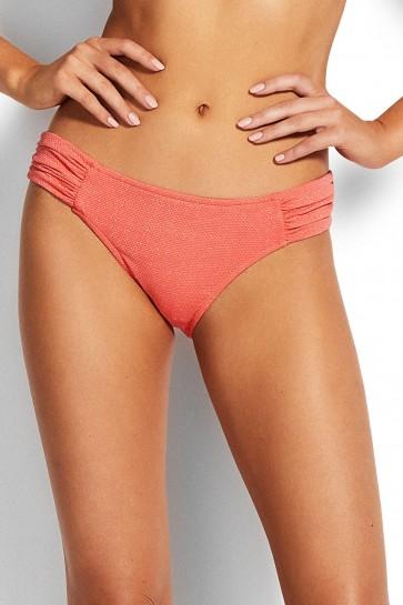 Stardust Ruched Side Retro Bikini Pants Antique Coral