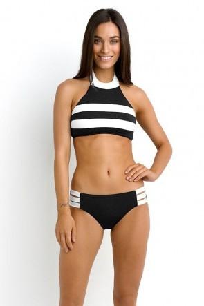 Block Party High Neck Bikini Tank Top with Multi Strap Hipster Bikini Pant Black SEAFOLLY