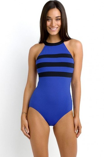 Block Party DD/F Cup High Neck One Piece Maillot- BLUE RAY