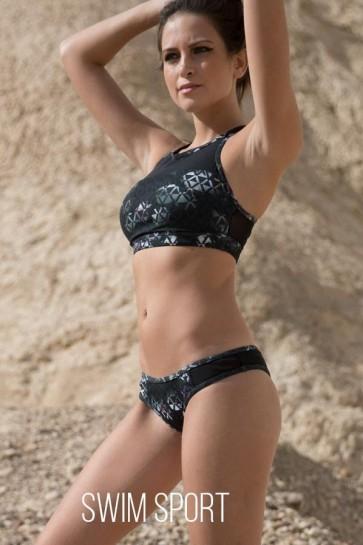 Sporty Mesh Bikini Top With High Cut Bottoms Geo Roses
