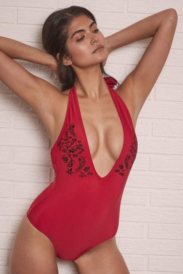 Lana Red Deep V Maillot One Piece Swimsuit