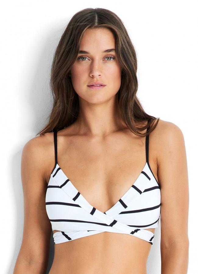 c7788f05f874e Castaway Stripe Wrap Front Bralette Bikini Top White Seafolly · Zoom