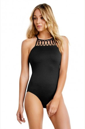 Seafolly DD Cup High Neck One Piece Maillot Black Seafolly