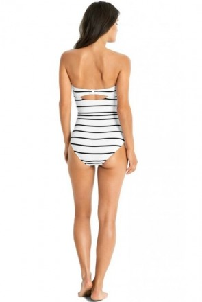 Castaway Stripe Bandeau One Piece Maillot