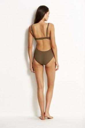 Inka Rib One Piece Dark Olive Seafolly