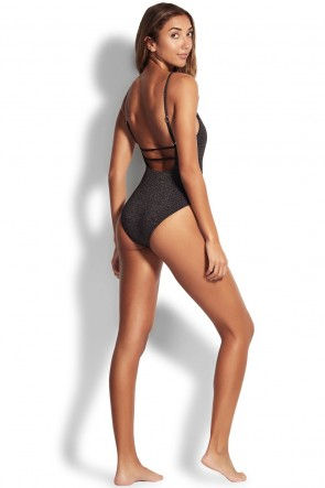 Stardust Square Neck One Piece by Seafolly Black