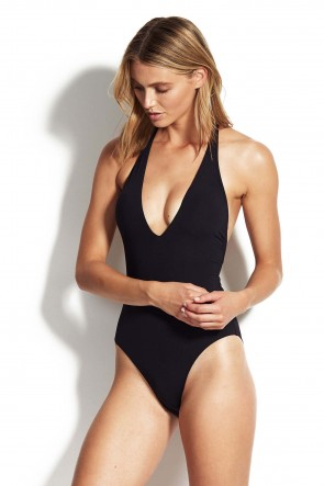 Active Deep V One Piece by Seafolly Black