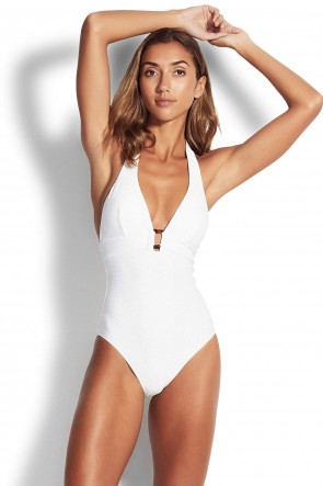 Capri Sea Halter One Piece by Seafolly White