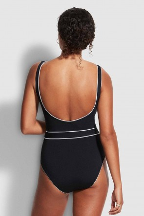 Active Belted Piped DD Maillot by Seafolly