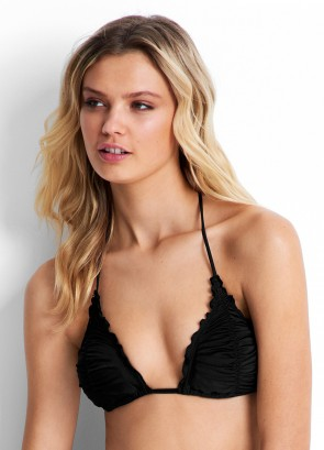 Shimmer Slide Triangle Bikini Top with Lettuce Edge  Seafolly
