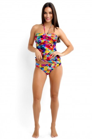 Sonic Bloom DD U-Tube Singlet Tankini Top with Ruched Side Bikini Pant