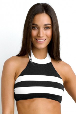 Block Party High Neck Bikini Tank Top Black Seafolly