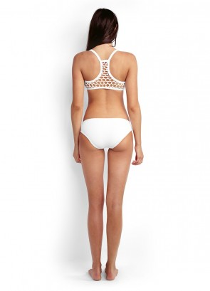 Mesh About Sports Bikini Tank Top with Hipster Bikini Pant - White