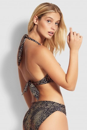 Safari Spot Twist Halter Bikini Top by Seafolly.