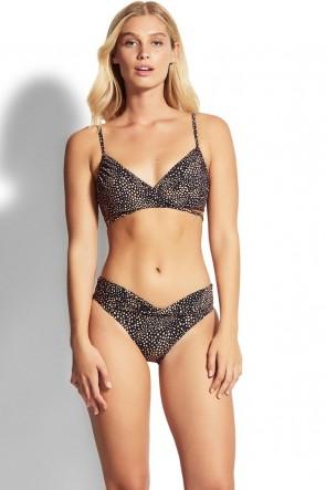 Safari Spot Wrap Front Booster Hipster Bikini Set