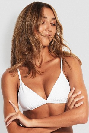 Essentials Fixed Tri Bra Bikini Top White