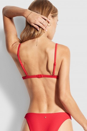 Essentials Fixed Tri Bra Bikini Top Red