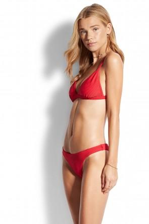 Essentials Fixed Tri Bra Bikini Set Seafolly Red