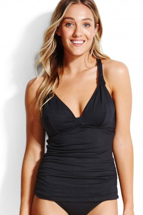 F Cup Halter Singlet Top Tankini Black Seafolly