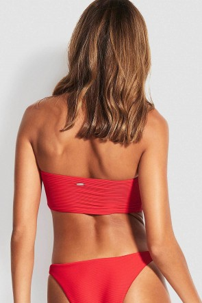 Essentials Tube Bandeau Bikini Top Chilli