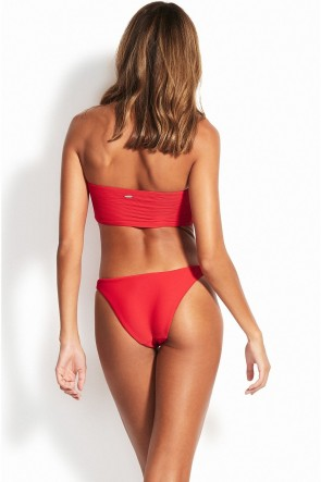 Essentials Tube Bandeau Bikini Set Seafolly Red