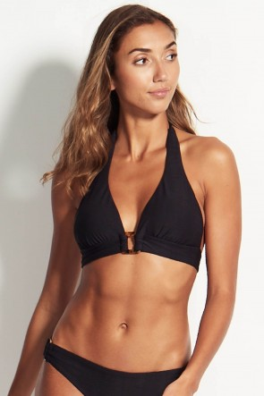 Capri Sea Halter Bikini Top by Seafolly Black