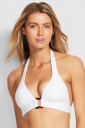 Capri Sea Halter Bikini Top by Seafolly White