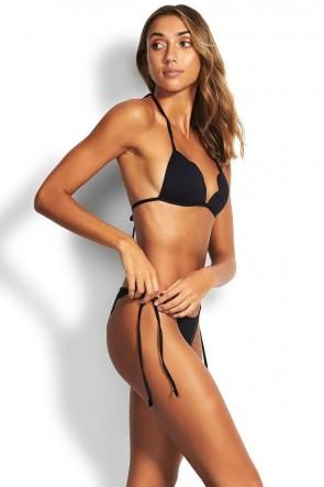Petal Edge Brazilian Tie Side Bikini Pant Black