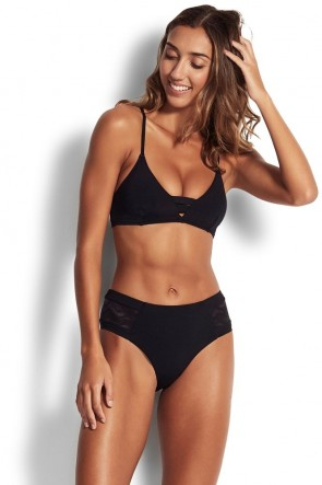 Active Zig Zag Bralette Retro Bikini Set Black