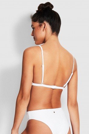 Essentials Bralette High Rise Bikini Set White