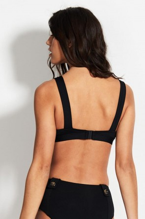 Active Fixed Tri w/ Buttons Bralette Black