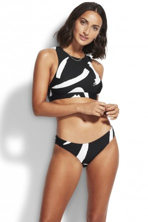 New Wave High Neck Bikini Set Black Seafolly