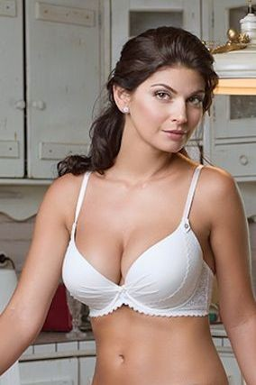 Vintage et Bra with moulded gell-filled push-up cups Ivory.