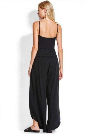 Sun Temple Shirred Waist Wrap Pant Black
