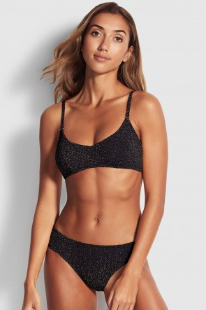 Stardust Tank Bralette Side Retro Bikini Set Black
