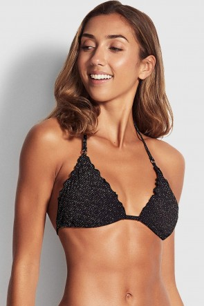 Stardust Slide Tri Bikini Top by Seafolly Black