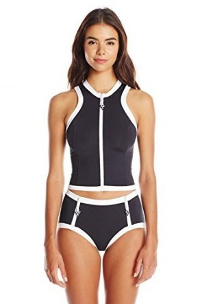 Block Party Sleeveless Rash Vest with Block Party High Waist Pant Black