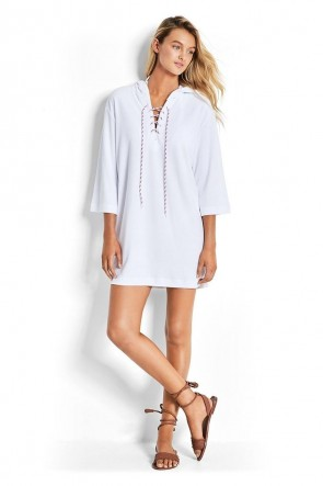 White Lace Up Towelling Cover Up Seafolly