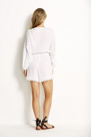 Love Bird Lace Trim Playsuit