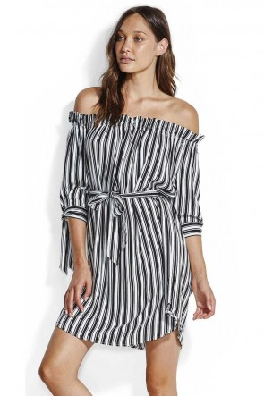 Midsummer Off Shoulder Stripe Dress