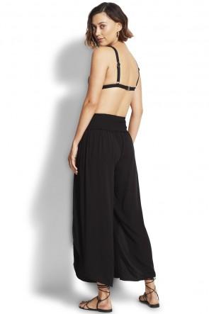 Sun Temple Shirred Waist Wrap Pant Black