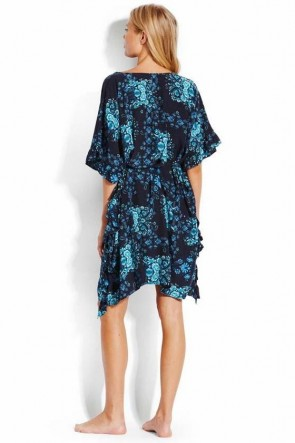 Sunflower Ruffle Kaftan Indigo Seafolly