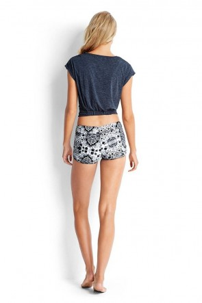 Set Essentials Air Singlet Top Denim with Short Seafolly Twist Front Crop Tee Seafolly Mandala Greymarle