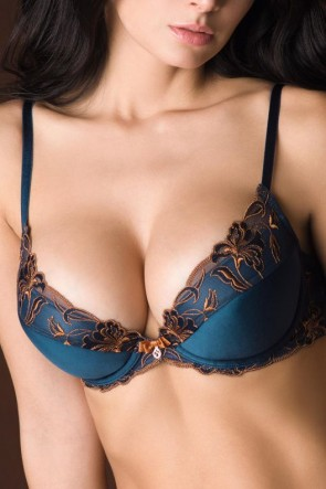 Floral vibes molded push-up bra Darkblue