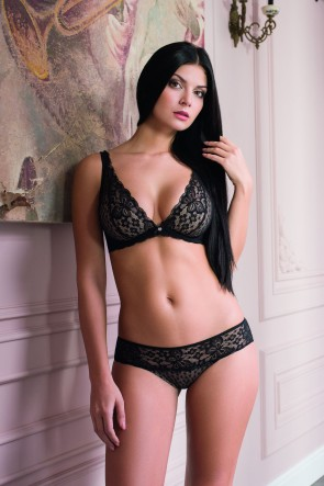 Framed bra with foam cups in a lace body panel Black