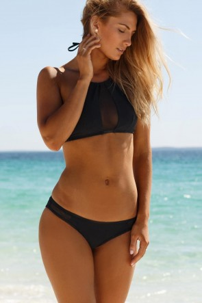 WILDE FOX HALTERNECK BIKINI SET BLACK