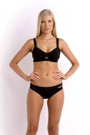 Active Swim Bralette Bikini Top with Split Band Hipster Bikini Pant -Black Seafolly