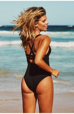 Active Swim Deep V One Piece Maillot Seafolly Black